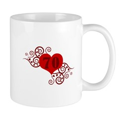 70th Birthday Fancy Heart Mug