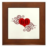60th Birthday Fancy Heart Framed Tile