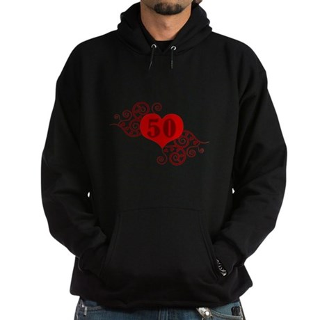 50th Birthday Fancy Heart Hoodie (dark)