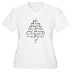 Christmas Tree, Gift, Poem, f Women's Plus Size V-