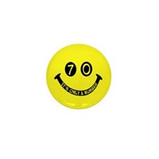 70th birthday smiley face Mini Button (100 pack)