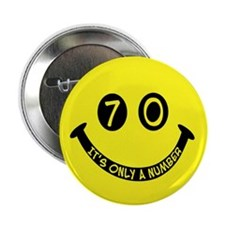 "70th birthday smiley face 2.25"" Button (100 pack)"