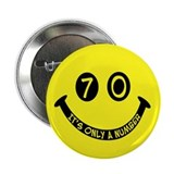 "70th birthday smiley face 2.25"" Button (10 pack)"