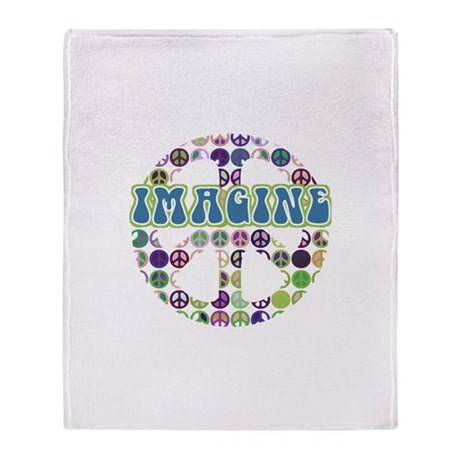 Retro Peace Sign Imagine Throw Blanket