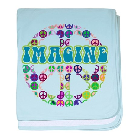 Retro Peace Sign Imagine baby blanket