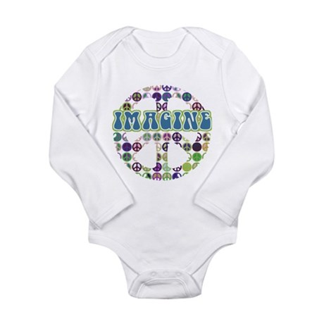 Retro Peace Sign Imagine Long Sleeve Infant Bodysu
