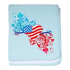 Independence Day Heart Scroll baby blanket