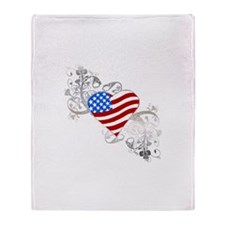 Independence Day Flag Heart Throw Blanket