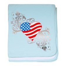 Independence Day Flag Heart baby blanket