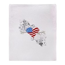 Independence Day Heart Throw Blanket