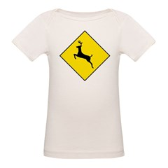 Deer Crossing Sign Organic Baby T-Shirt