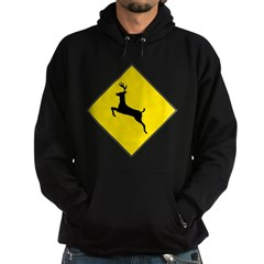Deer Crossing Sign Hoodie (dark)
