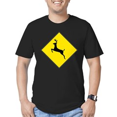 Deer Crossing Sign Men's Fitted T-Shirt (dark)