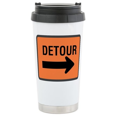 Detour Sign Ceramic Travel Mug