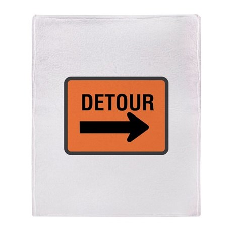Detour Sign Throw Blanket
