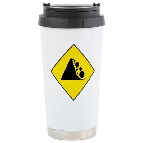 Fallign Rocks Sign Ceramic Travel Mug