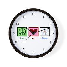 Peace Love Science Wall Clock