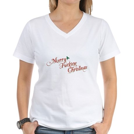 Merry Fucking Christmas Womens V-Neck T-Shirt