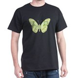Green Butterfly Black T-Shirt