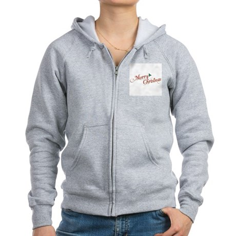 Merry Christmas Womens Zip Hoodie