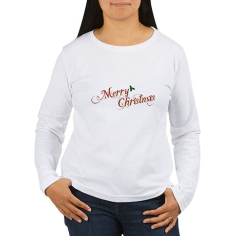 Merry Christmas Womens Long Sleeve T-Shirt