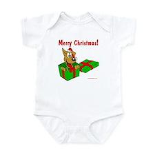 Dog w/ Santa Hat Gift Infant Bodysuit