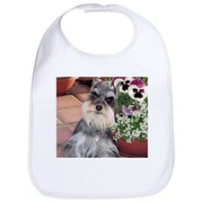 Schnauzer and the Pansies Bib