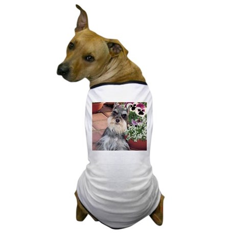 Schnauzer and the Pansies Dog T-Shirt