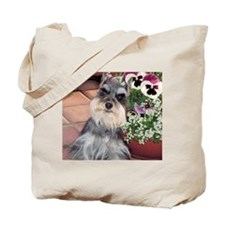 Schnauzer and the Pansies Tote Bag