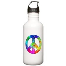 Retro tie-dyed peace sign Water Bottle