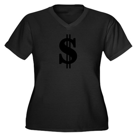 Dollar Women's Plus Size V-Neck Dark T-Shirt