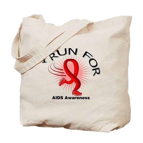 AIDS I Run For Awareness Tote Bag