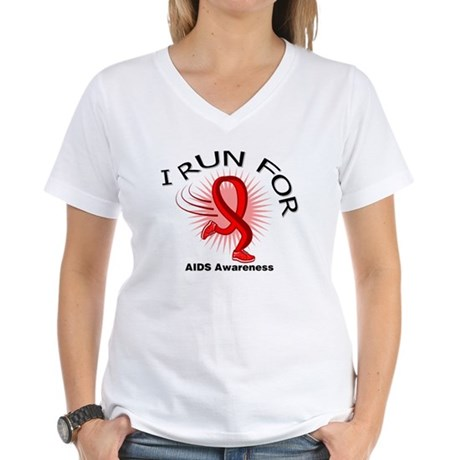 AIDS I Run For Awareness Women's V-Neck T-Shirt