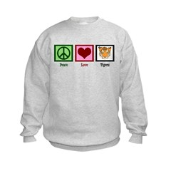 Peace Love Tigers Kids Sweatshirt
