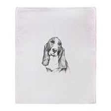 Basset Hound drawing Throw Blanket