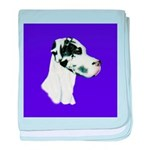 Down Ear Harlequin Great Dane baby blanket
