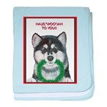 Malamute and sled team baby blanket