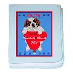 Valentine Saint Bernard baby blanket