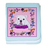 Bulldog puppy with flowers baby blanket