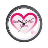 Brussels Griffon Pink Heart Wall Clock