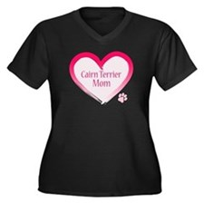 Cairn Terrier Pink Heart Women's Plus Size V-Neck