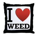 I Love Weed Throw Pillow