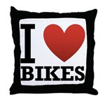 I Love Bikes Throw Pillow