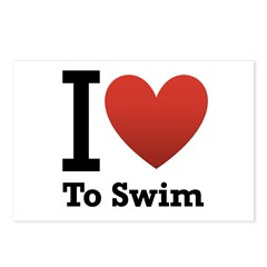 I Love to Swim Postcards (Package of 8)