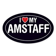 American Staffordshire/Amstaff Oval Sticker/Decal