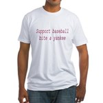Support Baseball Bite A Yanke Fitted T-Shirt