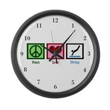Peace Love Diving Large Wall Clock