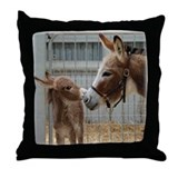 Donkey with Foal Throw Pillow