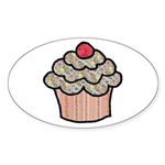 Country Calico Cupcake Sticker (Oval 10 pk)