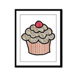 Country Calico Cupcake Framed Panel Print